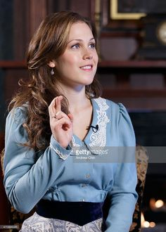 Actress Erin Krakow crosses her fingers on the set of 'When Calls the Heart' TV series on February 20, 2014 in Vancouver, Canada.