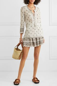 Isabel Marant - Alicia lace-up embellished printed cotton-gauze tunic World Of Fashion, Fashion Online, Models, Printed Cotton, Ready To Wear, Luxury Fashion, Rompers, Pretty, Skirts