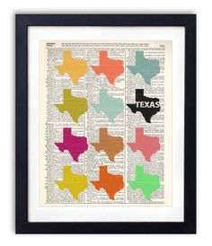 Colorful Custom State - Texas Dictionary Art Print Repurposed Book Print Recycled Antique Dictionary Page - Buy 2 Get 1 FREE   https://www.etsy.com/shop/RetroBookArt