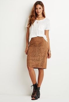 Laser-Cut Faux Suede Skirt   Forever 21 - 2000140548