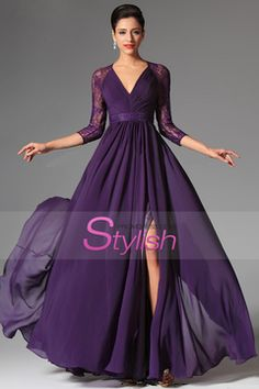 Buy 2016 v neck 3 4 length sleeve prom dresses a line floor length chiffon Online Purple Bridesmaid Dresses, Prom Dresses 2015, Prom Dresses With Sleeves, Grad Dresses, Formal Dresses, Wedding Dresses, Long Dresses, Party Dresses, Bridal Gowns