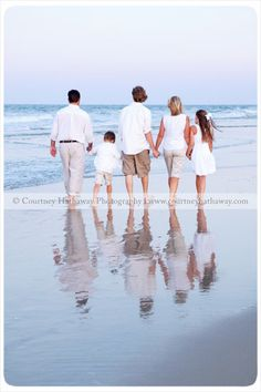 Family beach pic with reflection