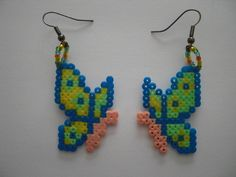 Butterfly earrings hama perler beads by Orianne22 on DaWanda
