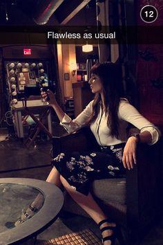Troian Bellisario on set in Keegan Allen's snapchat