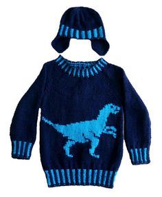 Dinosaur Child's Sweater and Hat - Velociraptor - Knitting Pattern, Dinosaur Sweater and Hat Knitting Pattern, Dino Knitting Pattern Baby Knitting Patterns, Jumper Knitting Pattern, Christmas Knitting Patterns, Knitting For Kids, Dinosaur Jumper, Dinosaur Pattern, Baby Pullover, Dress Gloves, Boys Sweaters
