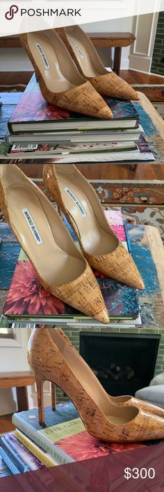 2df5546b3ba20 Manolo Blahnik Cork Heels Size 38.5, hand made in Italy, authentic, amazing  heels
