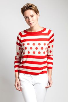 Stripes and dots in red and white silk and cashmere from Asneh
