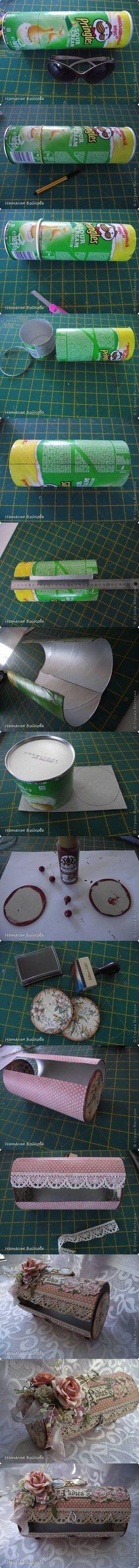 DIY Pretty Vintage Box from Pringles Can #craft #recycle:  UNA CAJITA VINTAGE