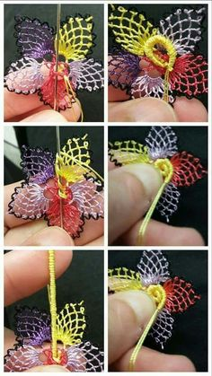This Pin was discovered by Şav Needle Tatting, Needle Lace, Crochet Flower Tutorial, Crochet Flowers, Diy Broderie, Sewing Case, Cross Stitch Christmas Ornaments, Lacemaking, Thread Art
