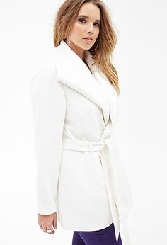 Belted Shawl Collar Coat | FOREVER21 PLUS - pretty coat but I don't think I can handle the cream color