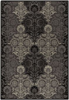 Couristan Everest Damask Reflection Black and Grey 15270913 Area Rug