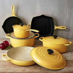 fLe Creuset's 10-piece cast iron set includes a range of cookware essentials perfect for setting up a new kitchen or adding versatility to an existing collection. Each piece offers the reliable cooking of enameled cast iron and, with a range of vivid colors to match any décor, doubles as an attractive serving dish. Le Creuset cookware is sand-cast, painstakingly polished and finished by hand, then sprayed with two coats of enamel before being fired twice, resulting in beautiful cookware