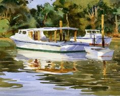 Maryland Crab Boats by Mike Kowalski Watercolor ~ 8 x 12