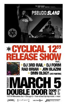 Door No. 3 Presents... The Hip Hop Monthly #11 with Pseudo Slang * DJ Form * Rad Brian * Hosted by: Jon Blazini the Edutainer   Thu, Mar 5 9pm $5 / Free w/ RSVP on Do312.com  http://doubledoor.com/events/hip-hop-monthly-11/