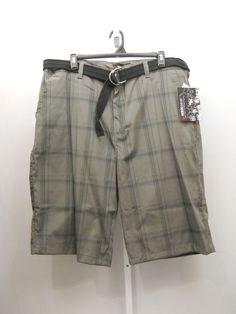 Men's Big & Tall Plaid Dress Shorts Size 46X15 NBN GEAR Charcoal Straight Leg  #NBNgear #DressShorts