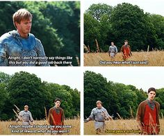 I love how Arthur is always telling Merlin to shut up, when he actually does shut up Arthur doesn't know what to do with himself