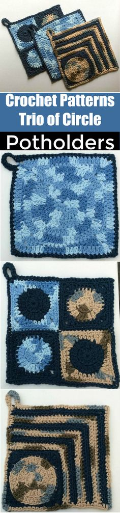 I am going to presenting 25 interesting and cute free crochet patterns to try this !#Crochet #Patterns Trio of Circle Potholders