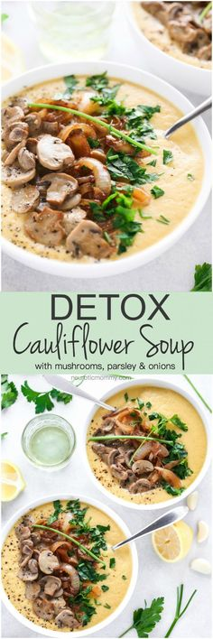 Detox Cauliflower Soup - Make a pot of this if you want to keep sickness at bay or shed a few pounds. It's low carb, packed with delicious veggies, herbs and spices and perfect for those chilly winter mornings. NeuroticMommy.com #vegan #detox #soup #health