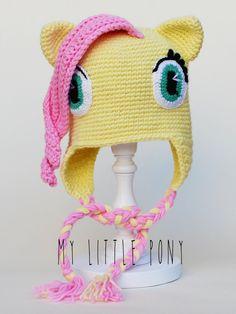 """Fluttershy from """"my little pony"""" crochet hat."""