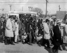 "Civil rights demonstrators, led by Dr Martin Luther King, make their way from Selma to Montgomery on March 21, 1965 in Alabama, on the third leg of the Selma to Montgomery marches. The Selma-to-Montgomery March for voting rights ended three weeks and represented the political and emotional peak of the modern civil rights movement. The first march took place on March 07, 1965 (""Bloody Sunday"") when 600 civil rights marchers were attacked by state and local police. (Photo credit should read…"