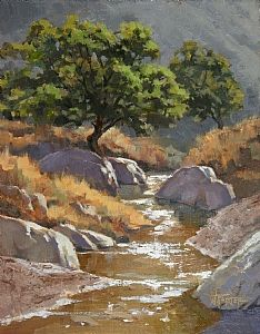 Walter Porter - Sutherland Sparkle  Oil on Canvas  14 x 11  $600.00 Available  Plein air oil- Sutherland Wash in Catalina State Park, Tucson, AZ
