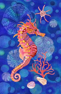 DIY Diamond Painting Cartoon Seahorse on Blue - craft kit DIY Diamantmalerei. Seahorse Art, Seahorses, Seahorse Painting, Seahorse Drawing, Seahorse Cartoon, Blue Crafts, Sea Art, Fish Art, Blue Art