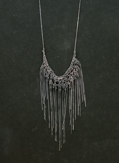 Fringe sketched oxidized silver crochet necklace by PetiteMortShop, $200.00
