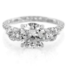 18K White Gold Three Stone Diamond Engagement Ring by A. Jaffe                                                                                                                                                     More