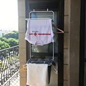Blanco Tendedero vertical para la lavander/ía y para habitaciones peque/ñas Colgador de ropa con mucho espacio para la colada Fabricado con metal y pl/ástico mDesign Tendedero de ropa para colgar