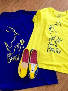‎Tania Lapica‎ to Silhouette CAMEO Project Inspiration · Miami, NY · Beauty and the Beast tshirts with htv and the shoes are painted: bridal party games