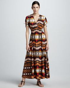 T58TX Indikka Ikat-Print Maxi Dress