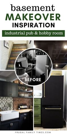 We made DIY home pub and hobby room in our basement - and we're sharing our design inspiration: Cozy Industrial Underground. It has warm wood, copper accents, exposed brick walls, painted exposed ceiling and so much more! Our basement pub does double duty as a hobby craft room with hidden built-in storage and more. A rustic, industrial, moody finished basement remodel with bar is our vision - and we did it! (See post for photo sources.) Home Pub, Floor Plan Layout, Frugal Family, Exposed Brick Walls, Basement Makeover, Hobby Room, Built In Storage, Basement Remodeling, Home Look