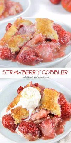 Easy No Bake Desserts, Homemade Desserts, Easy Desserts, Delicious Desserts, Yummy Food, Baking Recipes, Cake Recipes, Milk Recipes, Strawberry Cobbler