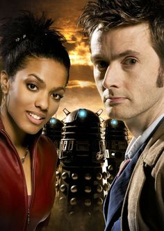 The 10th Doctor and Martha with Daleks