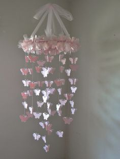 Pink Chandelier Butterfly Mobile by LittleBoPress on Etsy, $55.00