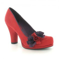 34768f17ca0 Ruby Shoo Eva Womens Faux Suede Court Shoes - Red   Navy