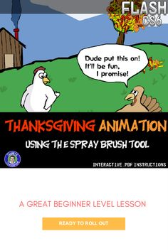 Flash Lesson - Thanksgiving Animation, mastering the Spray Brush Tool, Photoshop Lessons, Flash Animation, Thanksgiving, High School Students, Student Learning, Educational Technology, Lesson Plans, Middle School, Teacher