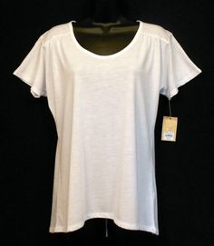 Top Shirt Womens Size Small Sonoma White Poly Rayon Scoop Neck Short Sleeve NWT