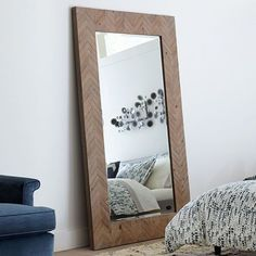 We're doing a double-take at Mirror's distinct frame, which showcases au naturel wood in a chic chevron pattern. This stately mirror features a chevron patterned wood frame finished. Mirror has a generous bevel. May be hung horizontal or vertical. Oversized Wall Mirrors, Rustic Wall Mirrors, Contemporary Wall Mirrors, Wood Framed Mirror, Modern Mirrors, Unique Mirrors, Mirror Mirror, Broadway, Brown Walls