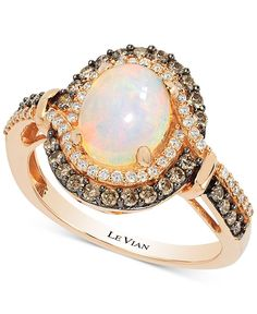 Le Vian Chocolatier Opal (1-1/5 ct. t.w.) and Diamond (1/2 ct. t.w.) Ring in 14k Rose Gold