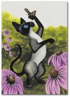 Siamese Cat  Butterfly Dance Garden - Art Prints by Bihrle ck356