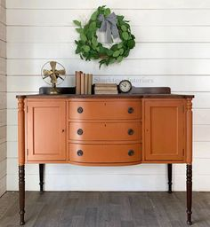 Orange Painted Furniture, Milk Paint Furniture, Repainting Furniture, Diy Furniture Projects, Refurbished Furniture, Colorful Furniture, Upcycled Furniture, Furniture Makeover, Vintage Furniture