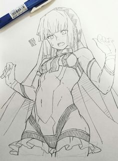 Altera Fate Manga Drawing, Figure Drawing, Manga Art, Drawing Sketches, Drawings, Wie Zeichnet Man Manga, Poses References, Anime Poses, Illustration