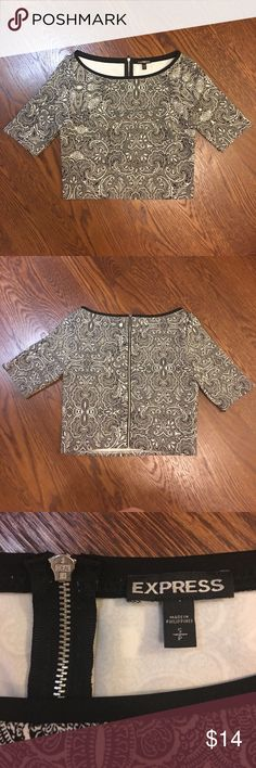 Express crop top - zip back!! Express size small zip back crop top. Slightly stretchy material, black and white paisley pattern. Express Tops Crop Tops