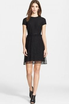 Chantilly Lace Dress with Leather Trim