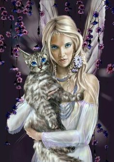 A fairy holding on loving to her pet cat. Magical Creatures, Fantasy Creatures, Fantasy Kunst, Fantasy Art, Fairy Dust, Fairy Tales, Elfen Fantasy, Fairy Pictures, Love Fairy