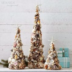 Sea Shells, Urchins and Glass Christmas Trees - Sally Lee by the Sea