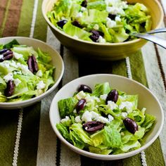 Kalyn's Kitchen®: Recipe for Mediterranean Salad with Hummus Dressing, Olives, Capers, and Feta