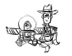 Woody and buzz Disney Sketches, Disney Drawings, Cute Drawings, Disney Concept Art, Disney Fan Art, Disney Toys, Disney Pixar, Woody E Buzz, Dreamworks