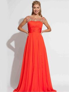 Orange A Line Cap Sleeve Bateau Beaded Sweep Train Chiffon Prom Dress With Sash